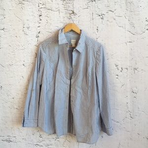 CHICOS BLUE WHITE STRIPE BUTTON UP SHIRT 2